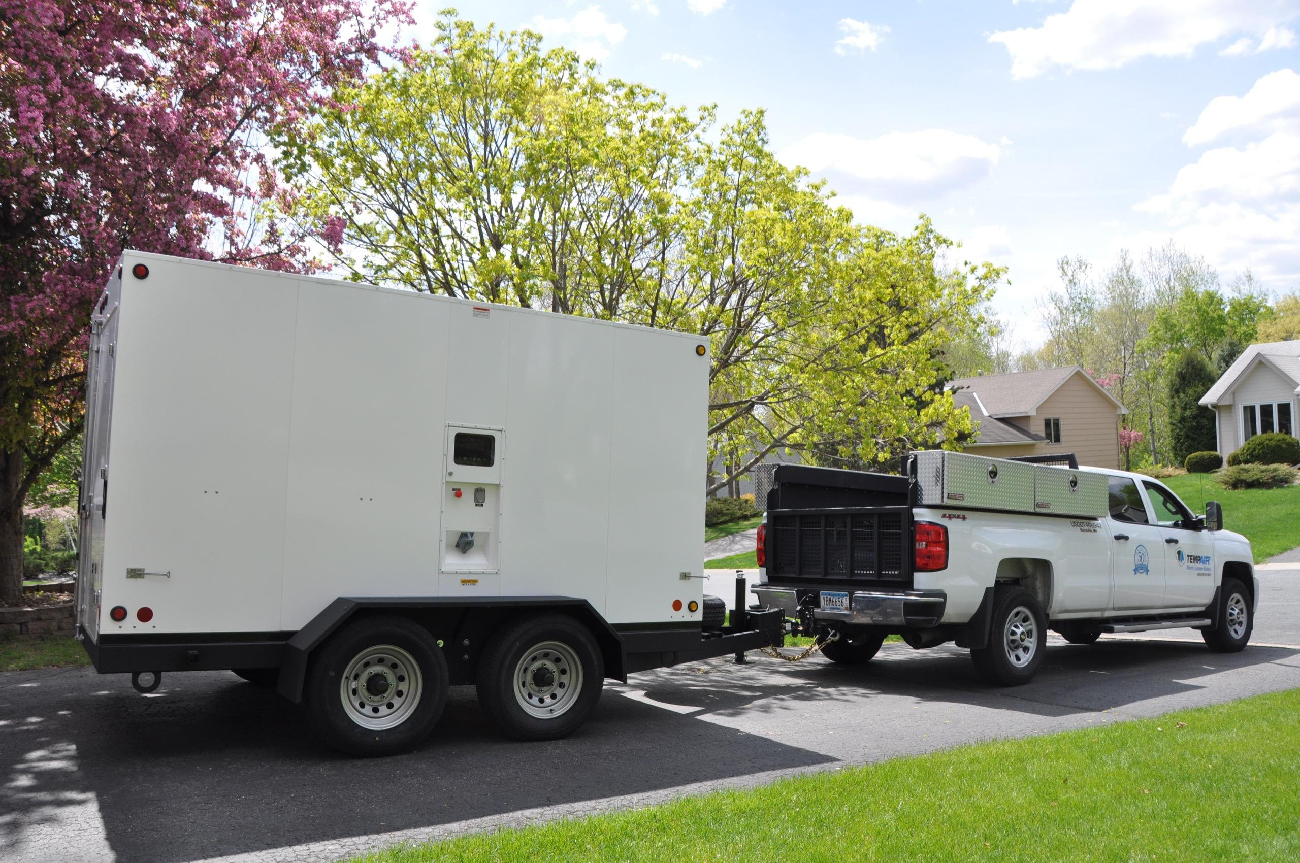 A truck and generator wait ready to take off